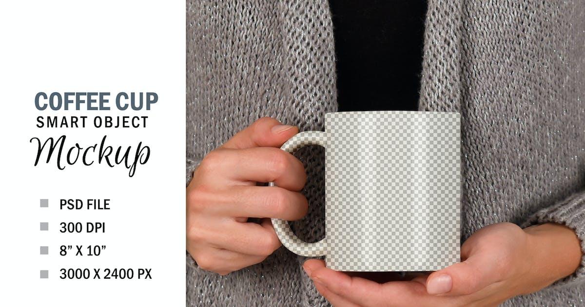 Download Woman Holding Coffee Cup Mug Smart Object Mockup by Haywiremedia