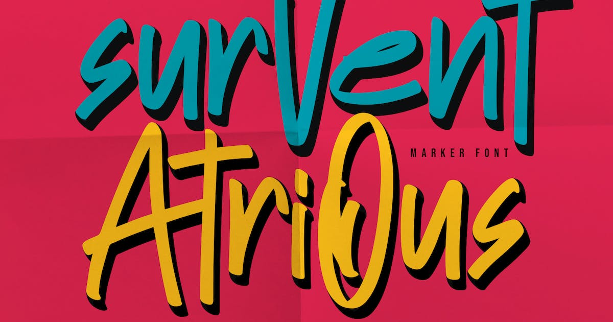 Download Survent Atrious Marker Font by maulanacreative