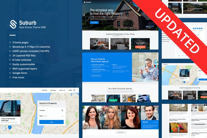 Thumbnail for Suburb - Real Estate PSD Template