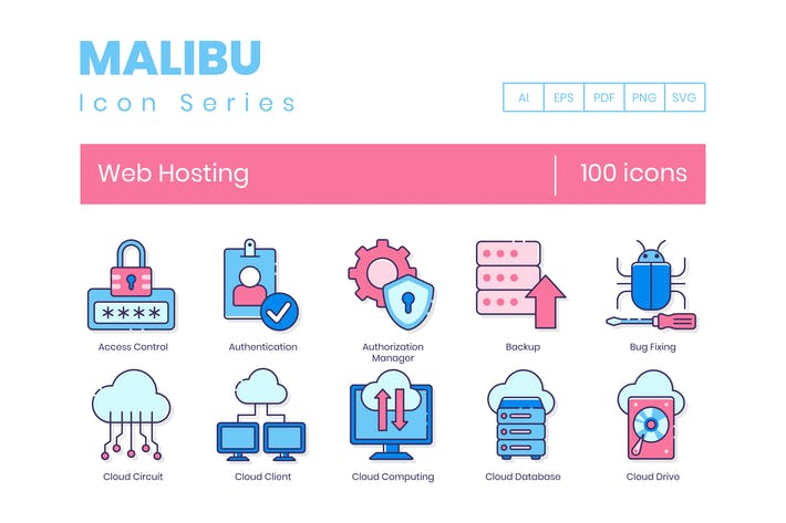 100 Web Hosting Line Icons