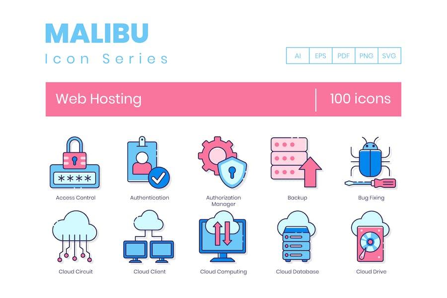 100 Web Hosting Line Icons
