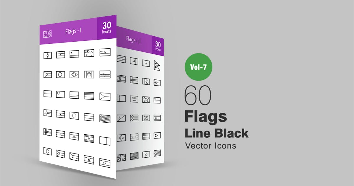 Download 60 Flags Line Icons by IconBunny