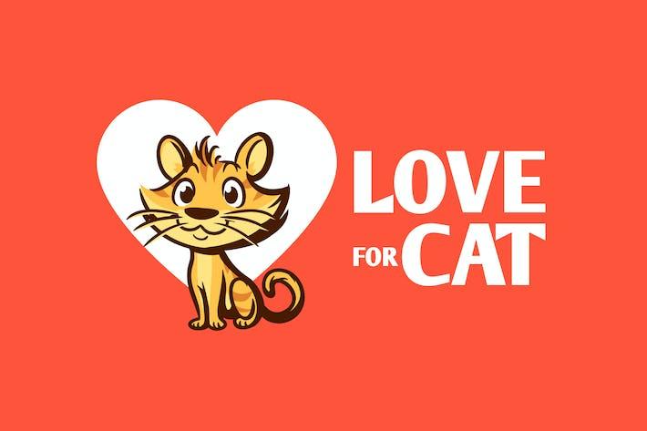 Thumbnail for Love for Cat - Cartoon Cat Character Mascot Logo