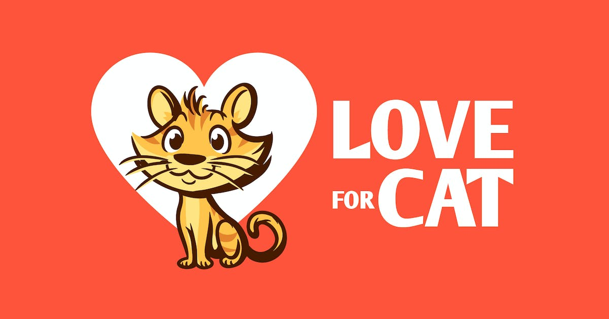 Download Love for Cat - Cartoon Cat Character Mascot Logo by Suhandi