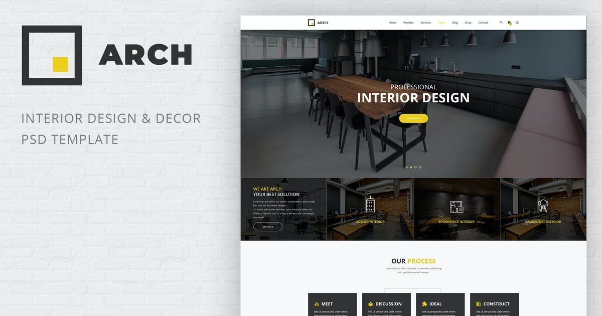 Download Arch - Interior Design and Decor PSD Template by AuThemes