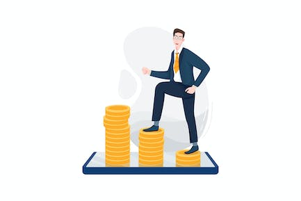 Businessman going up large coins display on phone