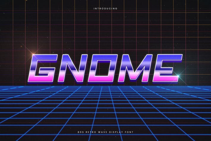 Thumbnail for Gnome - Retro Wave Typeface