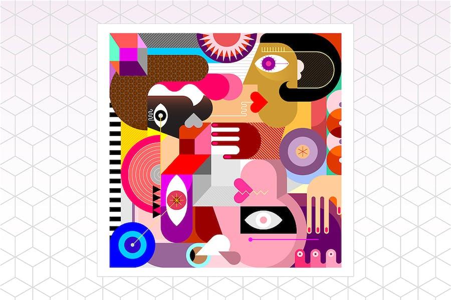 Три человека Абстрактное искусство Вектор Иллюстрация