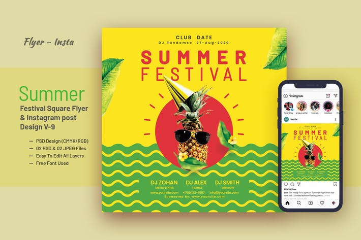 Thumbnail for Summer Festival Party Flyer & Instagram Post V-9