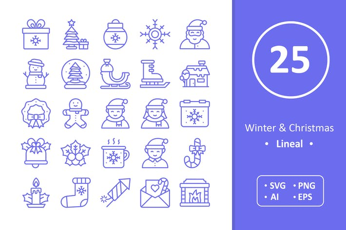 Thumbnail for Winter and Christmas Icons - Line