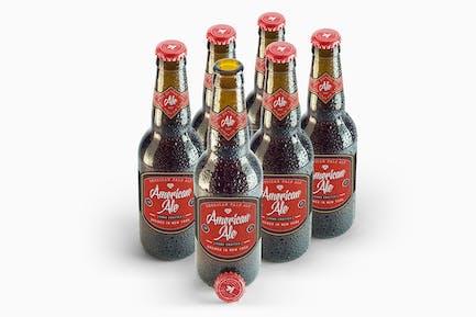 Beer Amber Bottle Mockup