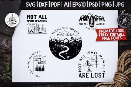 Mountain Camp Logos, Retro Wanderlust Badges Shirt