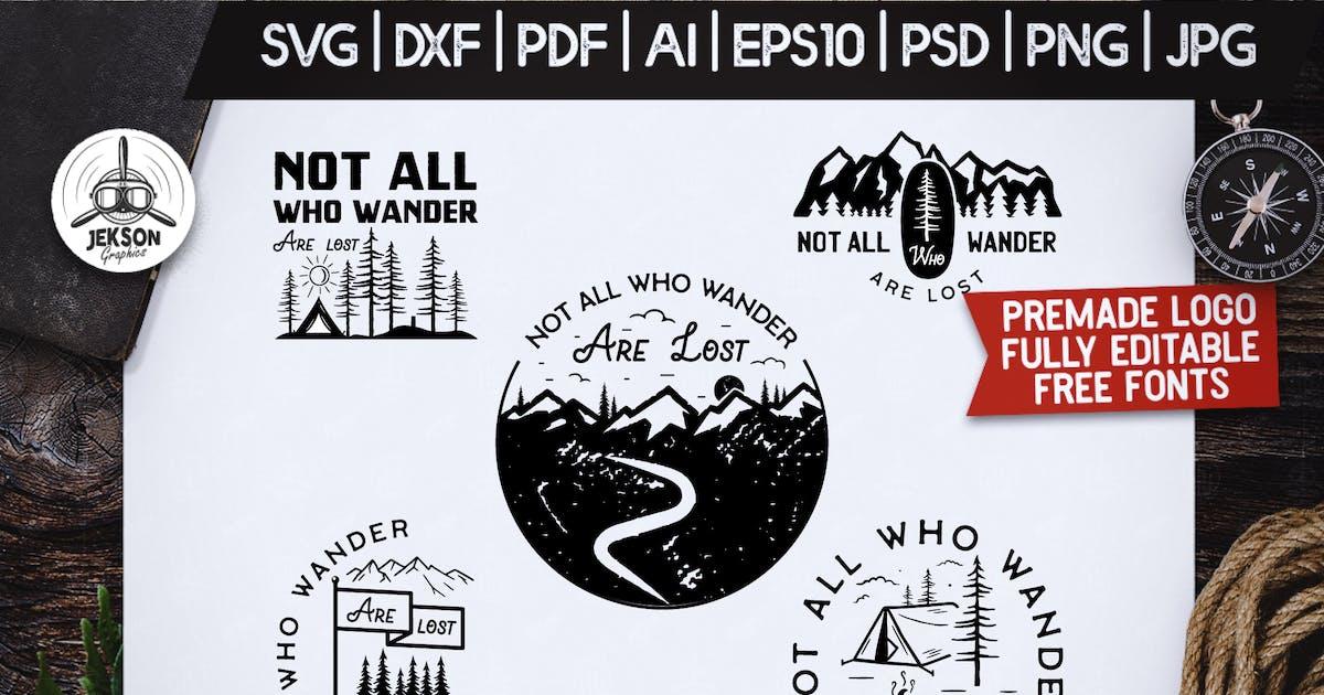 Download Mountain Camp Logos, Retro Wanderlust Badges Shirt by JeksonJS