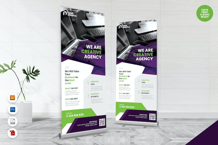 Thumbnail for Creative Roll Up Banner AI & PSD Template Vol.18