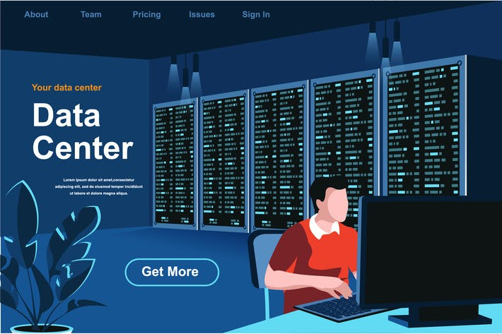 Data Center Isometric Web Page Flat Concept