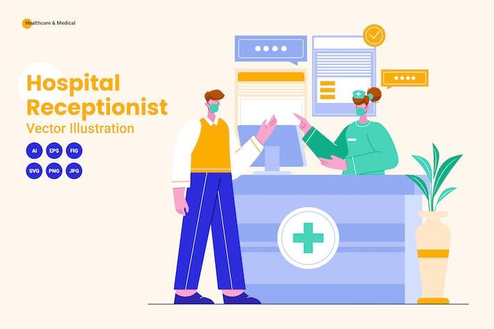 Hospital Receptionist Vector Illustration