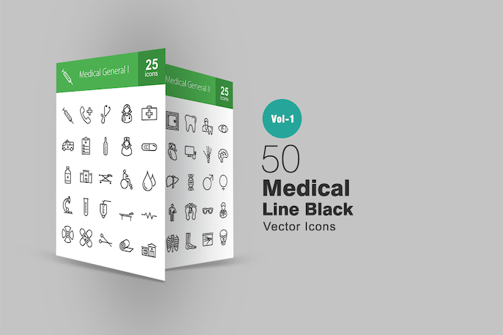 Thumbnail for 50 Medical Line Icons