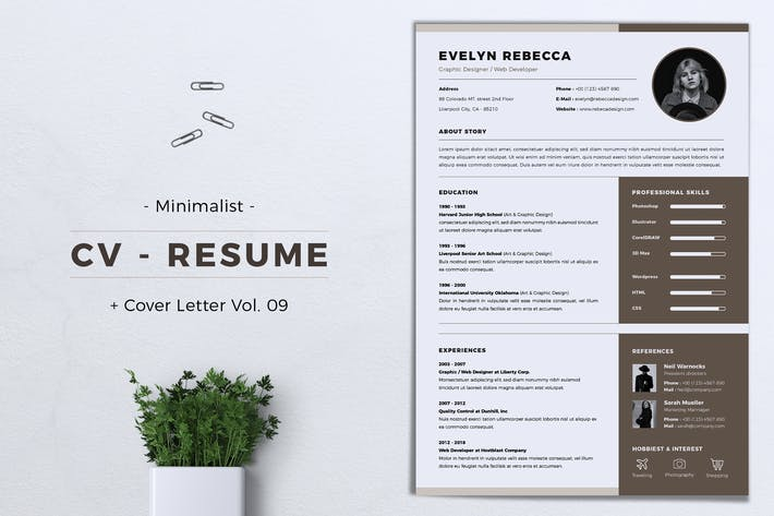 Thumbnail for Minimalist CV Resume Vol. 09