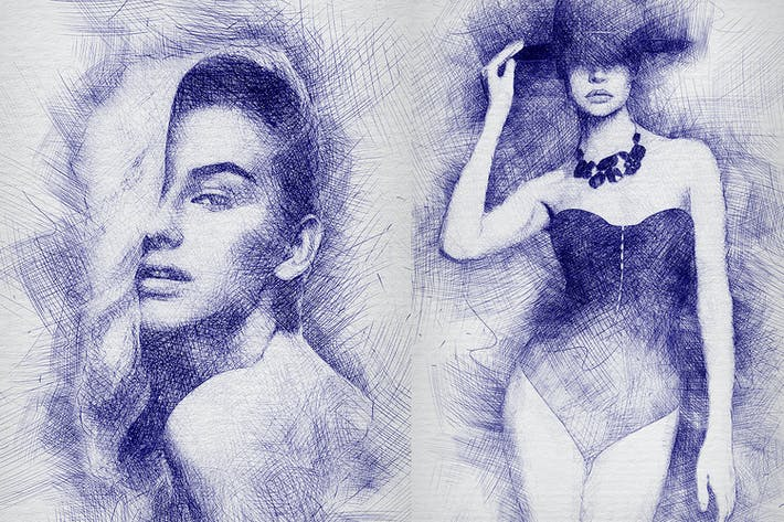 Действие Photoshop Sketch за пера