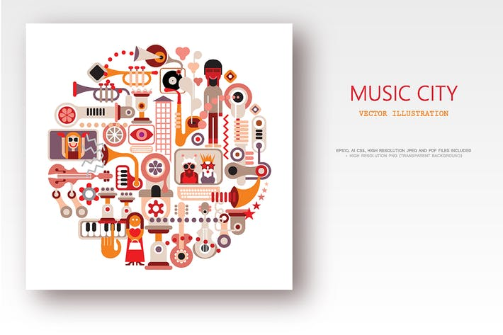 Thumbnail for Music City round shape vector illustration