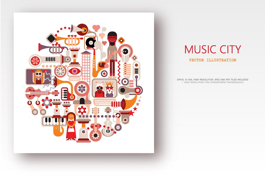 Music City round shape vector illustration
