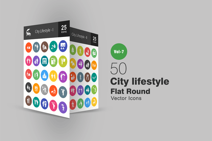 Thumbnail for 50 City Lifestyle Flat Round Icons