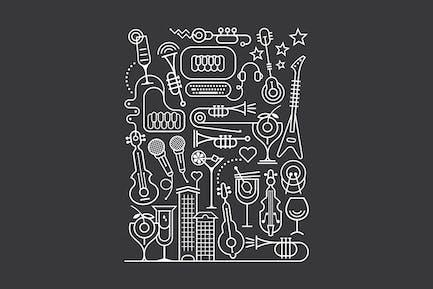 Cocktail and Karaoke Party Art Line Illustration