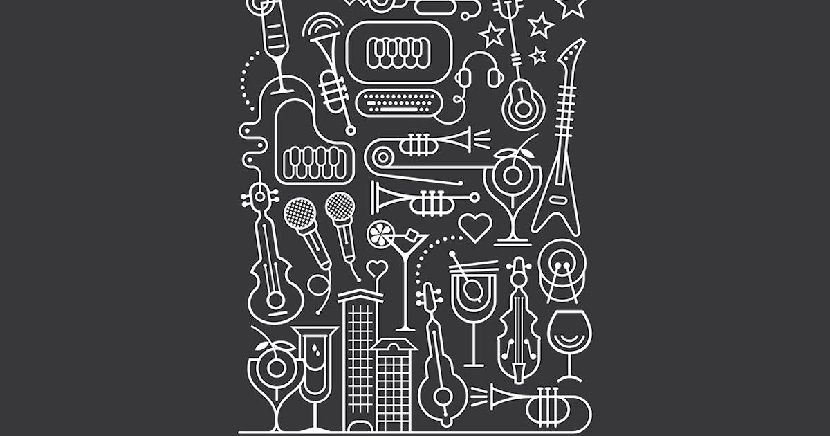 Download Cocktail and Karaoke Party Art Line Illustration by danjazzia