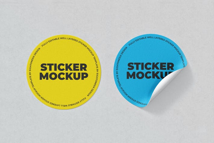 Thumbnail for Circle Sticker Mockup Template
