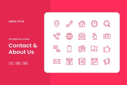 Contact & About Us - Icon Set