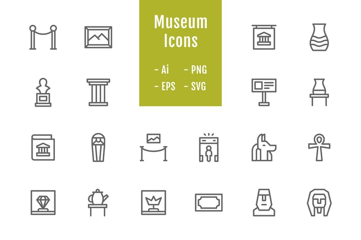 Thumbnail for 20 Museum Icons (Line)