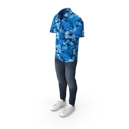 Hombre Manga Corta Camisa Vaqueros y Zapatillas