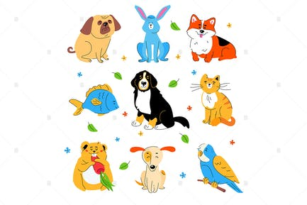 Cute pets - flat design style set of characters