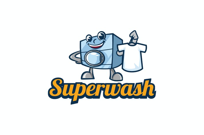 Thumbnail for Retro Laundry Washing Machine Mascot Logo