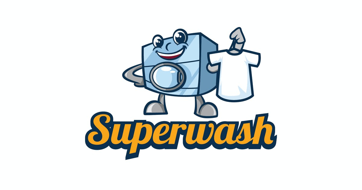 Download Retro Laundry Washing Machine Mascot Logo by Suhandi
