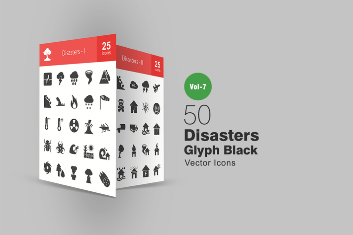 Thumbnail for 50 Disasters Glyph Icons
