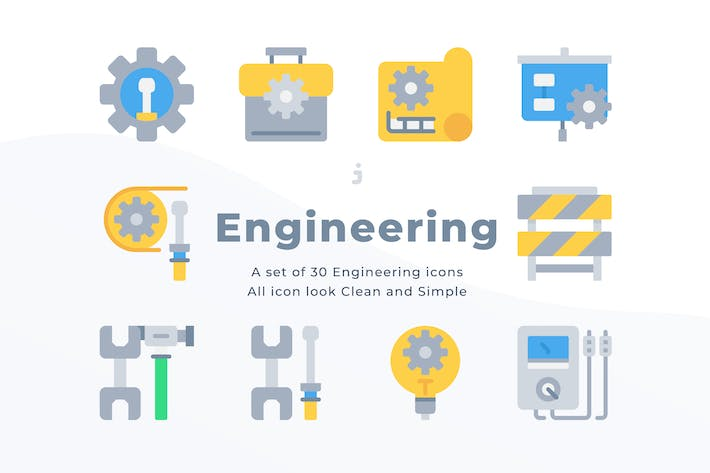 30 Engineering icons - Flat