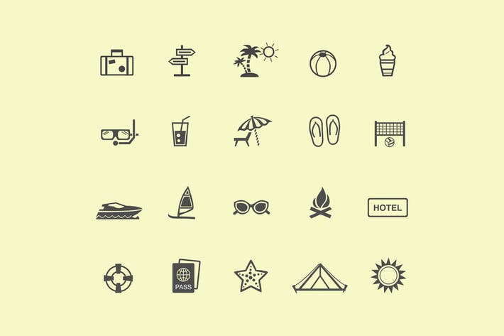 Cover Image For 20 Holiday and Vacation Icons