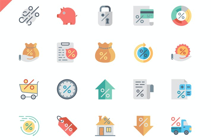 Cover Image For Simple Set Loan Flat Icons