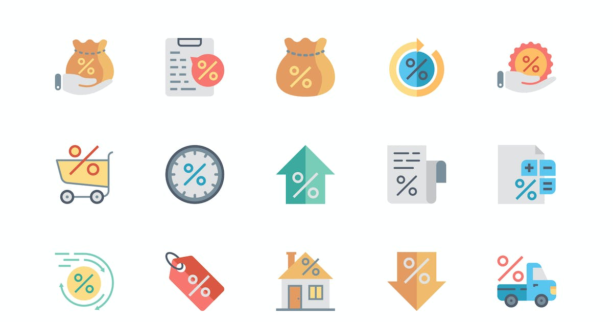 Simple Set Loan Flat Icons by Unknow