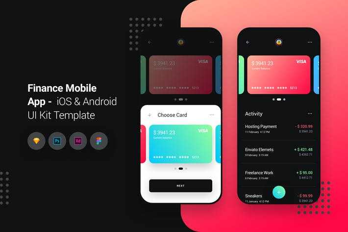 Thumbnail for Finance Mobile App iOS & Android UI Kit Template