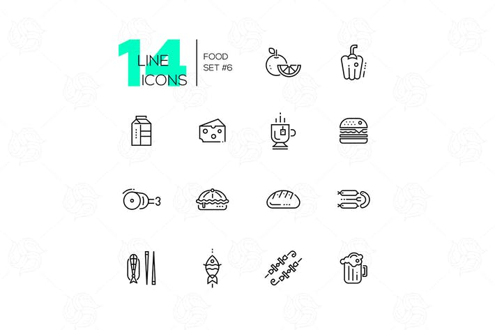 Thumbnail for Kinds of Food Line Icons Set