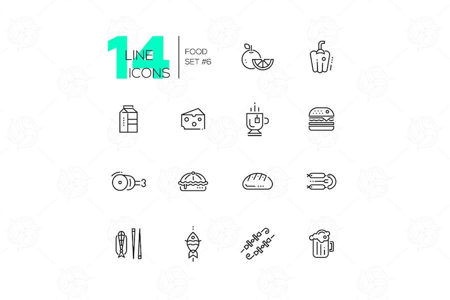 Arten von Food Line Icons Set
