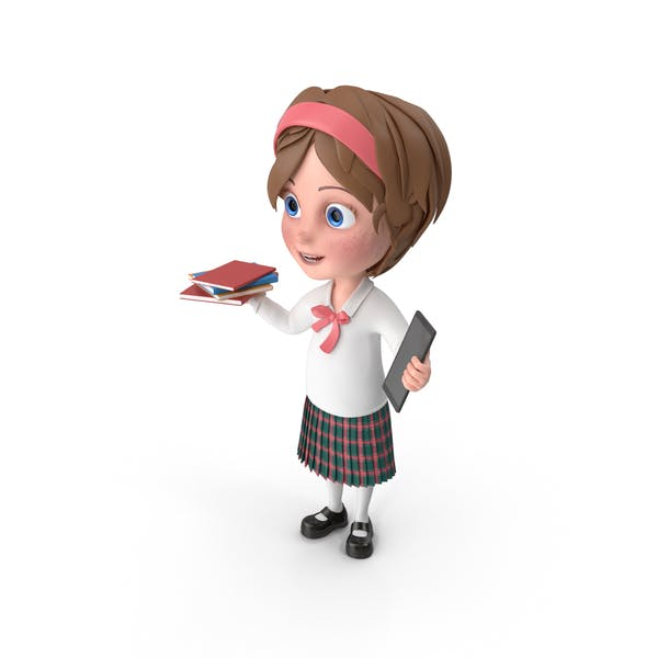 Thumbnail for Cartoon Girl Holding Books And Tablet