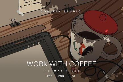Work with Coffee Illustration