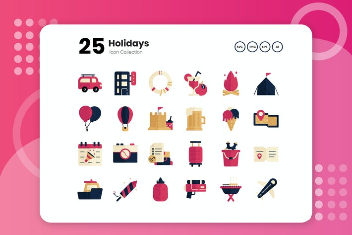 25 Holiday Flat Icon