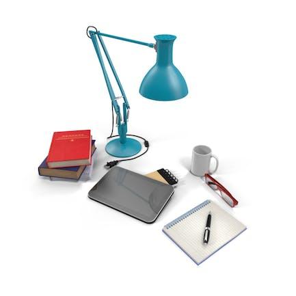 Schreibtischlampe mit Bürobedarf