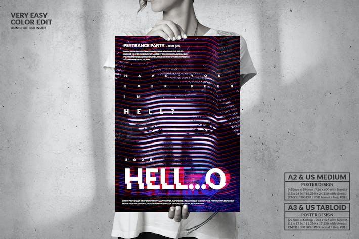 Thumbnail for Hell...o Psytrance  - Big Music Poster Design