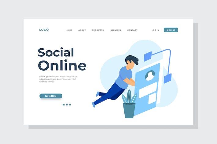 Thumbnail for Social Online Landing Page Illustration