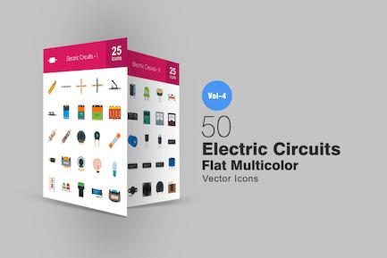 50 elektrische Schaltungen Flach Multicolor Icons